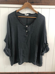 Woven Slouchy Linen/Cotton Top