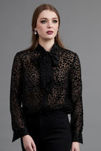 Load image into Gallery viewer, Drama The Label 1048 - Vanity Bow Top - Velvet Animal Black