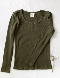 Karibou Ladies Willow Long Sleeve Waffle Henley Top