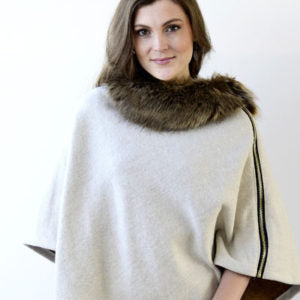 Archer House Fur Collar Zip Feature Poncho
