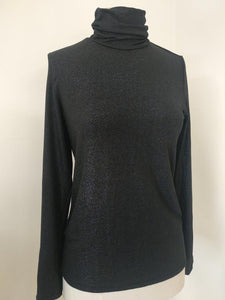 Woodward Essentials Sparkle Skivvy Top Black - Rayon Viscose Blend