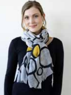 Archer House Big Black Circles Scarf - Pale Grey / Black / Mustard
