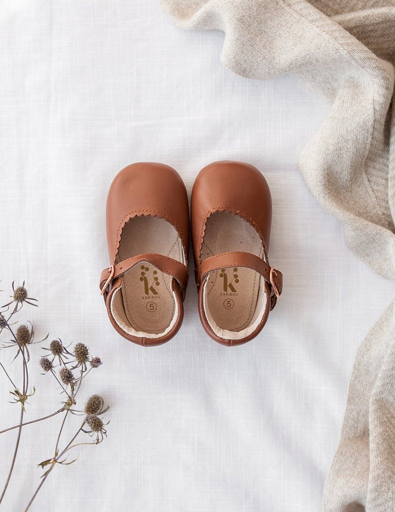 Karibou Gigi Genuine Leather Mary Janes Shoes - Chocolate