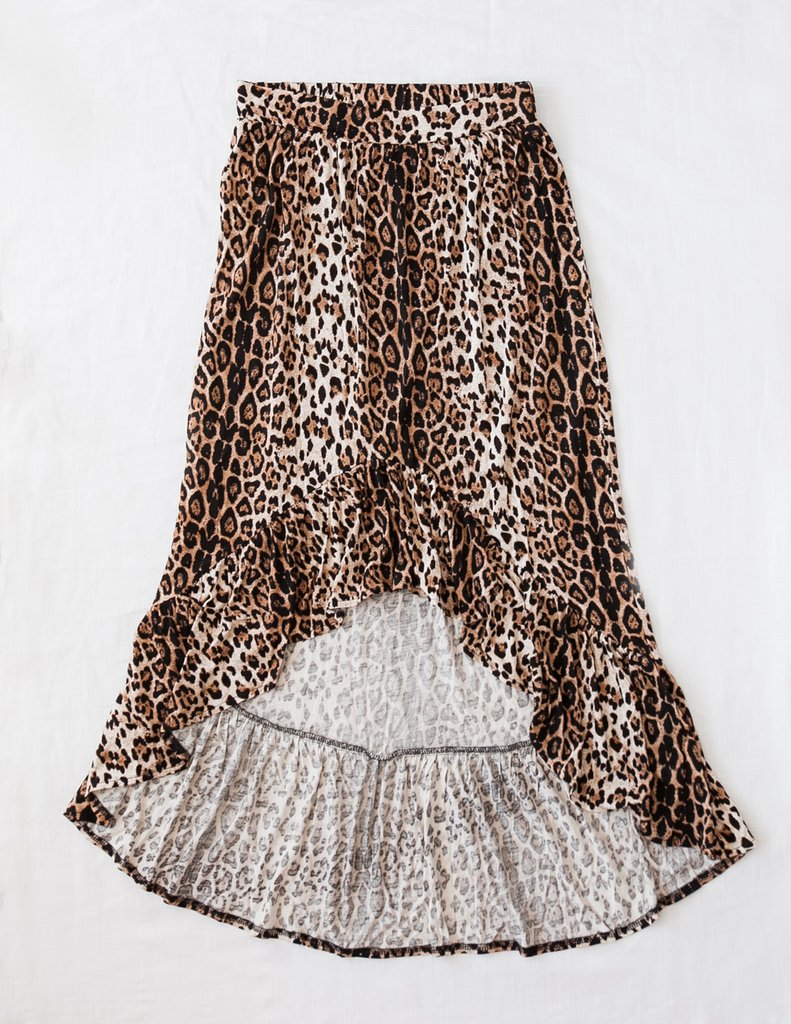 Karibou Wild And Free Ladies Leopard Print High-Low Skirt