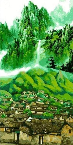 Green Mountain Landscape Large Painting by Numbers - Paint by Numbers Kits