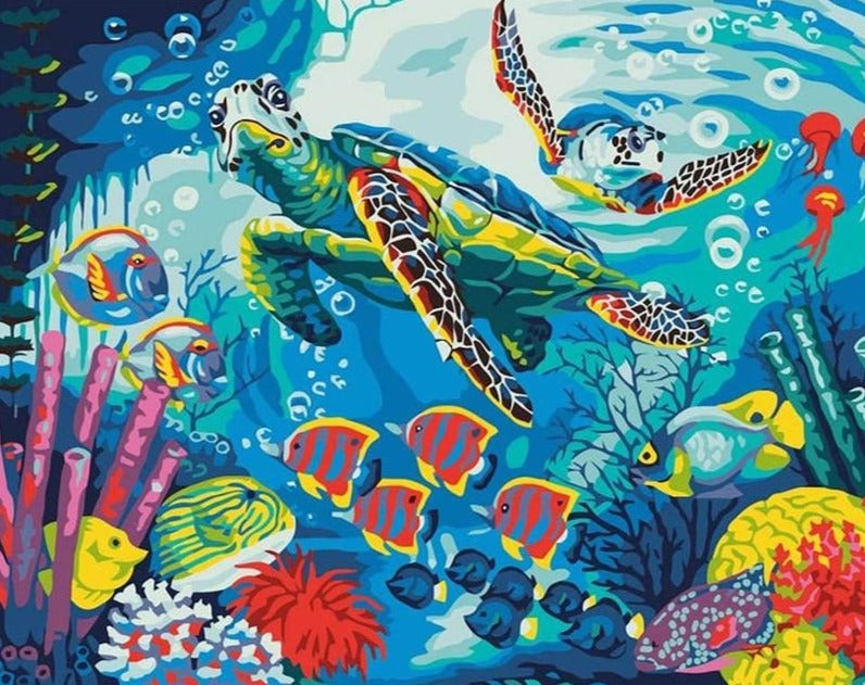 Turtles and Fish on the Sea Floor - Paint by Numbers Kits