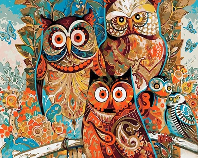 OWL Family Painting by Numbers - Paint by Numbers Kits