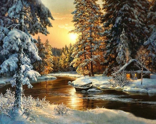 Sunset at the Forest Lake in Winter - Paint by Numbers Kits