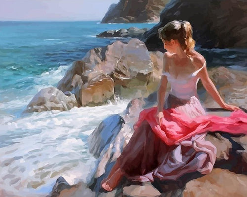 Girl on the Ocean - A Painting by Vladimir Volegov - Paint by Numbers Kits