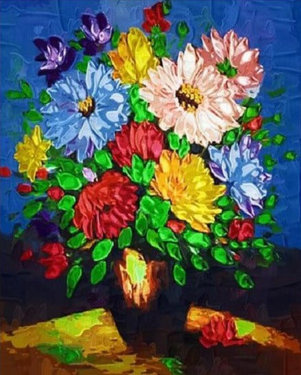 Colorful Flowers in Vase - Paint by Numbers Kits