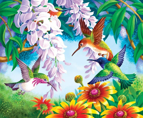 Colorful Birds & Flowers - Paint by Numbers Kits