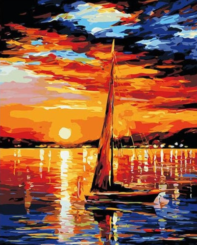 Sailing Boat - Modern Seascape Paint by Numbers - Paint by Numbers Kits