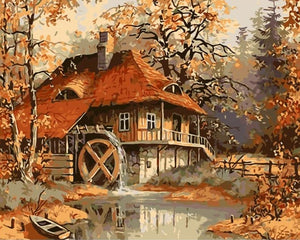 Beautiful Water-wheel - Paint by Numbers Kits