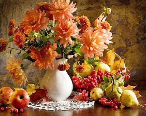 Bouquet of Lovely Flowers with Fruits - Paint by Numbers Kits