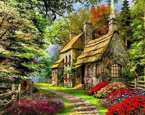 Beautiful Houses in the Forest - Paint by Numbers Kits
