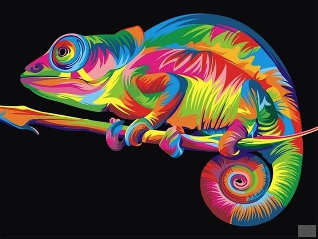 Chameleon Painting by Numbers - Paint by Numbers Kits