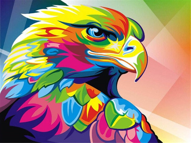 Colorful Eagle Oil on Canvas Painting - Paint by Numbers Kits