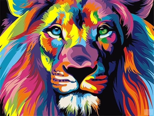Beautiful Lion Oil on Canvas Painting by Numbers - Paint by Numbers Kits