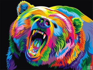 Angry Bear Painting by Numbers on Canvas - Paint by Numbers Kits
