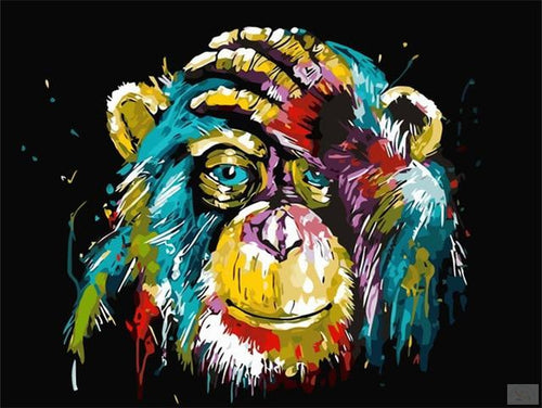 Colorful Ape Painting on Canvas - Paint by Numbers Kits