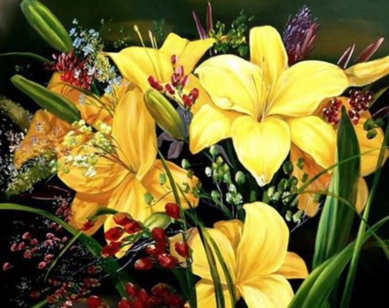 Yellow Lilies Painting by Numbers - Paint by Numbers Kits