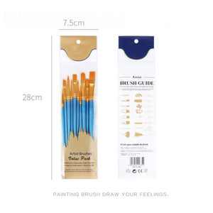 Nylon Hair Painting Brushes 10Pcs/Set - Paint by Numbers Kits