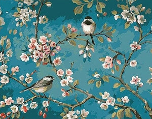 Birds on Floral Branches - Canvas by Numbers - Paint by Numbers Kits