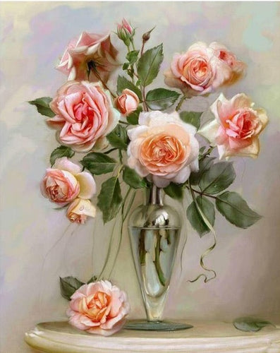 Beautiful Pink Roses - Paint by Numbers Kits