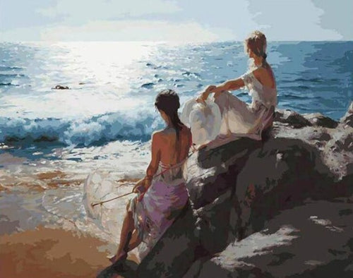 Lovely Girls on the Beach - Paint by Numbers Kits