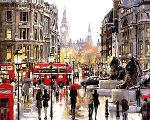 A Beautiful Scene of Busy Street in London - Paint by Numbers Kits