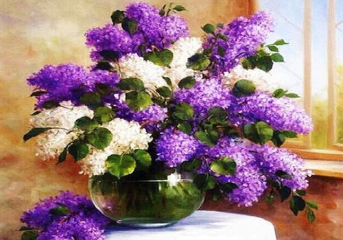 White and Purple flowers in Glass Jar - Paint by Numbers Kits