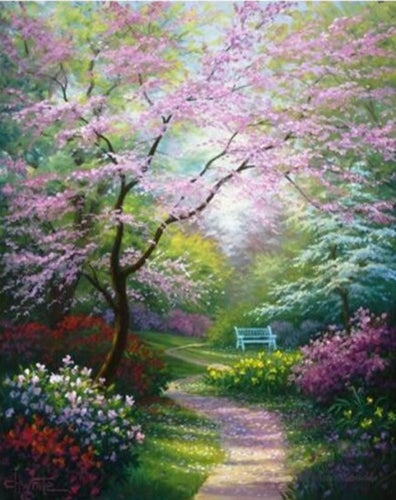 A Beautiful Garden During Spring Season - Paint by Numbers Kits