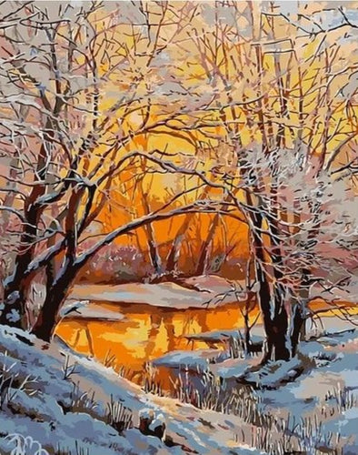 Snowy Riverbank during Sunset - Paint by Numbers Kits