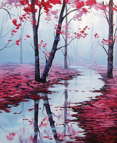 Beautiful Lake in Cherry Forest - Fall Season - Paint by Numbers Kits