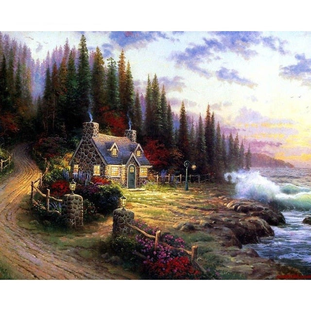 Lovely Cottage in the Forest - Paint by Numbers Kits