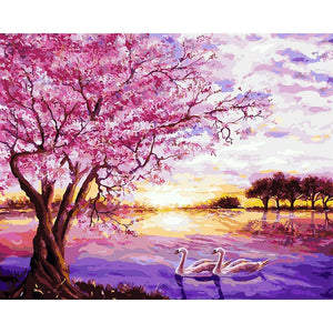 Lovely Swan Couple & Cherry Blossom tree - Paint by Numbers Kits