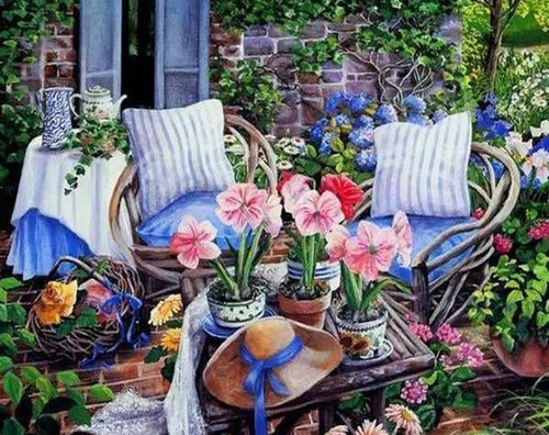 Beautiful sitting in Lovely Garden - Paint by Numbers Kits