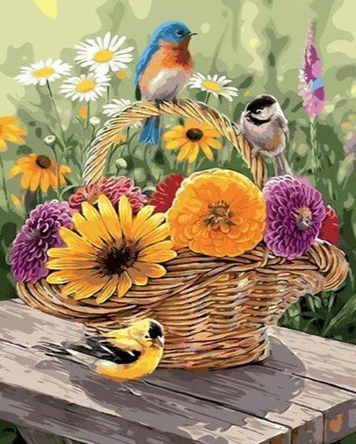 Lovely Birds And beautiful Flowers in the Basket - Paint by Numbers Kits