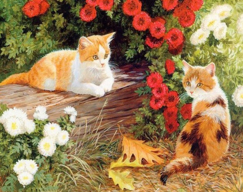 Cats Sitting in the Garden - Paint by Numbers Kit - Paint by Numbers Kits