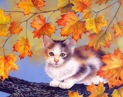 Cute Cat on Maple Tree - Paint by Numbers Kits