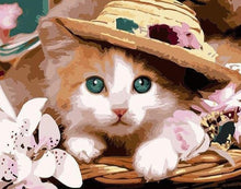 Load image into Gallery viewer, Cat with Hat Painting Kit - Paint by Numbers Kits