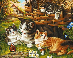 A Sweet Cat Family - Painting by Numbers - Paint by Numbers Kits