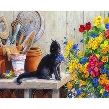 Load image into Gallery viewer, Black Cat with Colorful Flowers - Paint by Numbers Kits