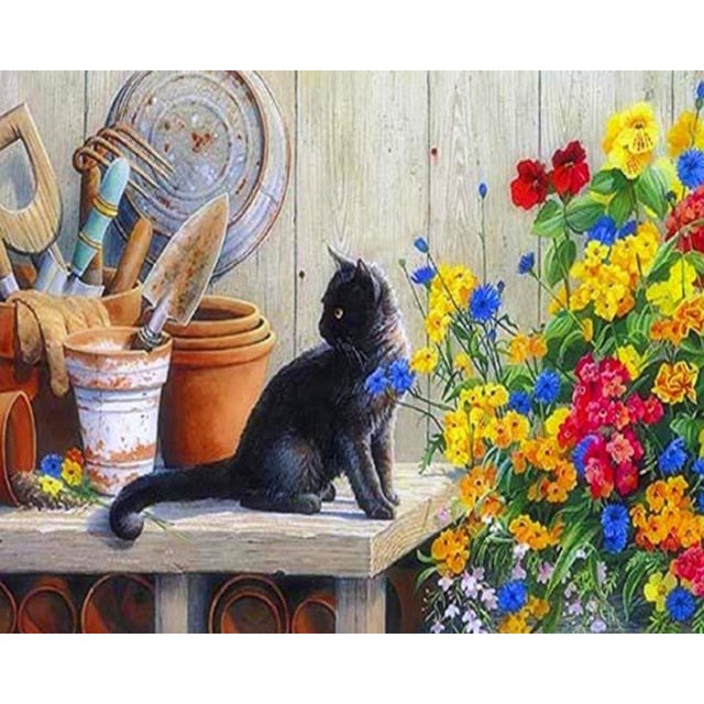 Black Cat with Colorful Flowers - Paint by Numbers Kits