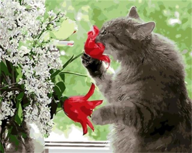 Beautiful Cat Playing with Flowers - Paint by Numbers Kits