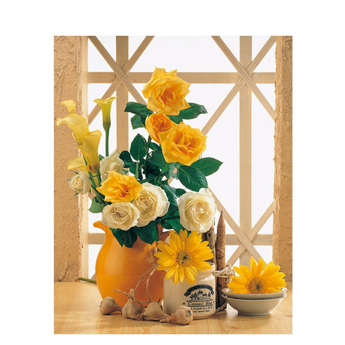 Yellow and White Roses with Sunflowers - Paint by Numbers Kits