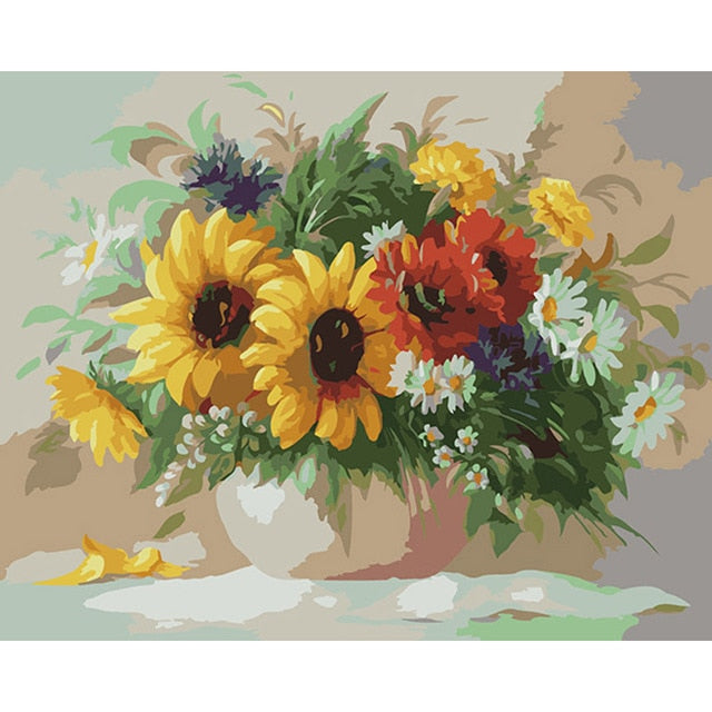 Diversity Flowers in Vase - Paint by Numbers Kits