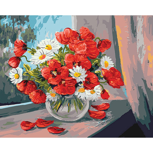 Red Poppies with White Daisies - Paint by Numbers Kits