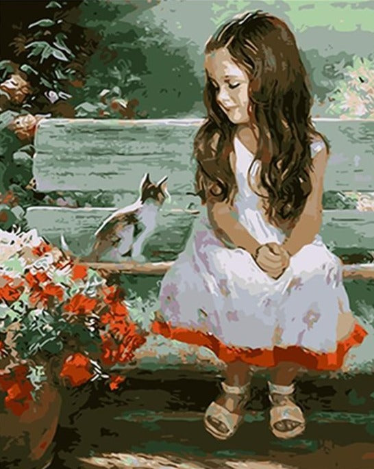 A Cute Little Girl with Her Cat - Paint by Numbers Kits