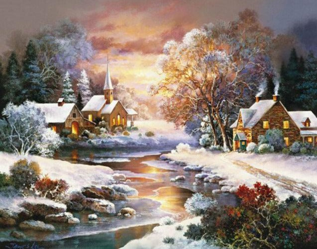 Beautiful Houses During a winter Night - Paint by Numbers Kits